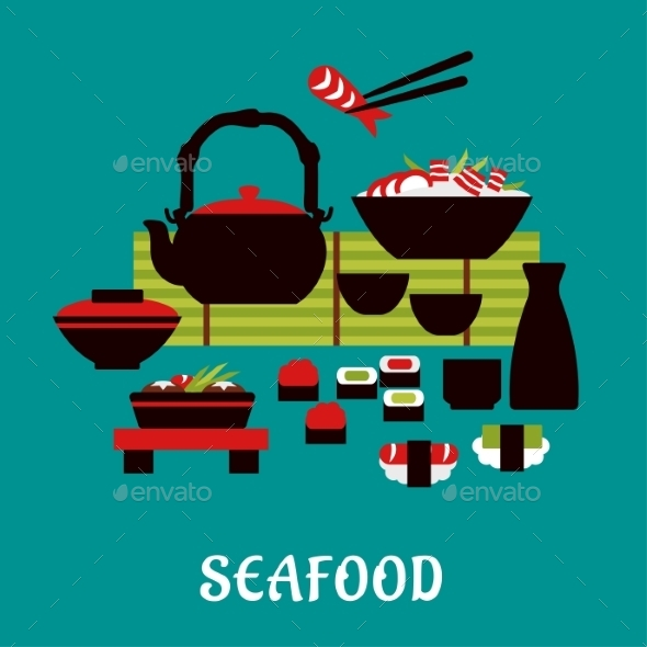 GraphicRiver Japanese Seafood In Flat Style 11358312