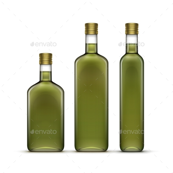 GraphicRiver Vector Set Of Olive Oil Glass Bottles Isolated 11358313