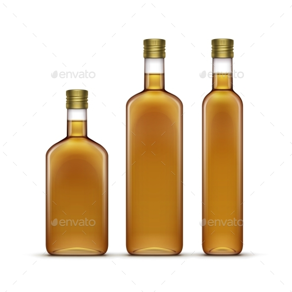 GraphicRiver Set of Olive or Sunflower Oil Glass Bottles 11358330