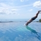 Young Man Jumping In Endless Pool Outdoors. Slow - VideoHive Item for Sale
