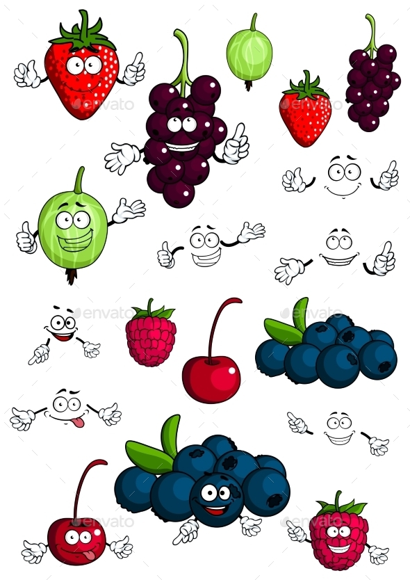 GraphicRiver Healthy Berries and Fruit Characters 11358350