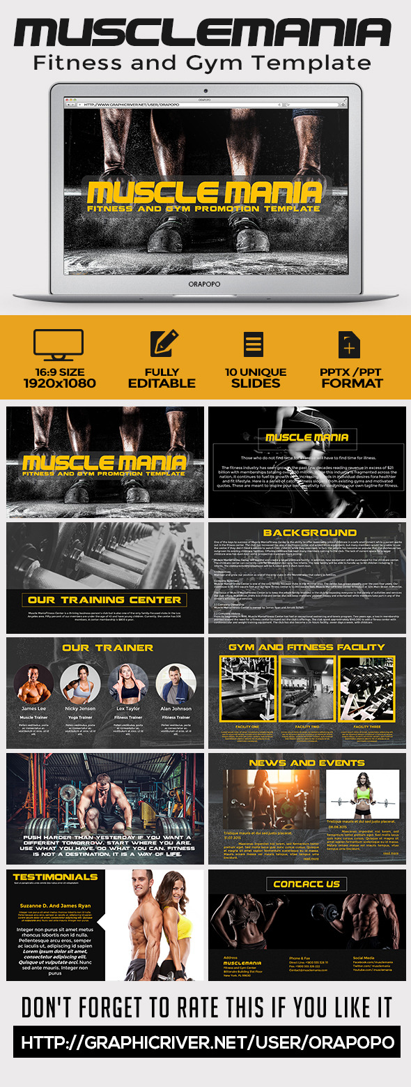 GraphicRiver Muscle Mania Fitness and Gym Template 11358429