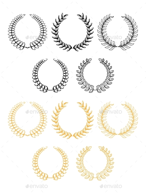 GraphicRiver Laurel Wreaths In Two Color Variants 11360945