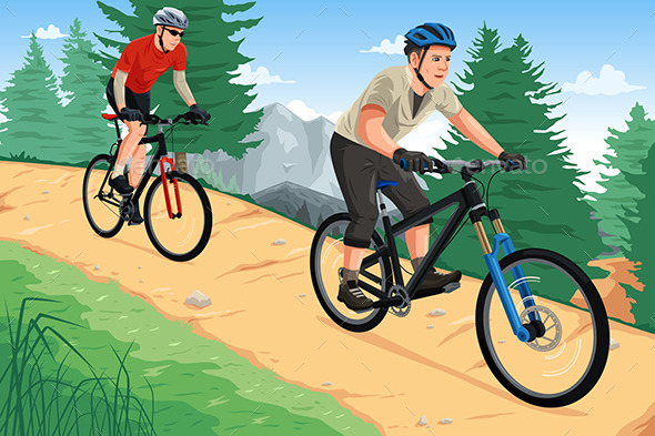 GraphicRiver People Riding Mountain Bikes 11360946