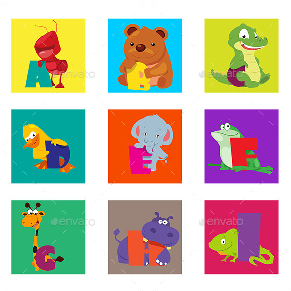 GraphicRiver Alphabet Animals From A to I 11361017