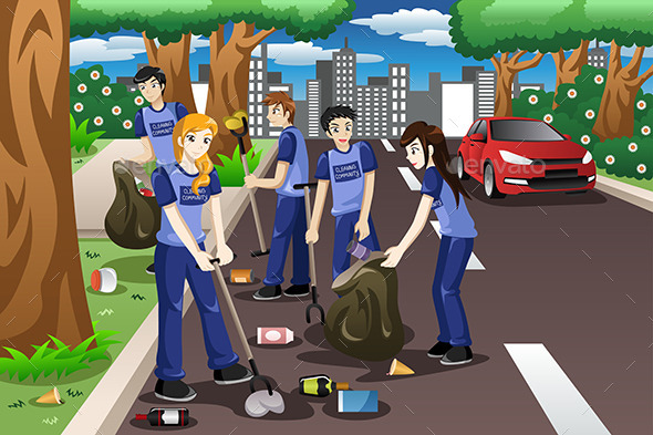 GraphicRiver Kids Volunteering by Cleaning up the Road 11361028