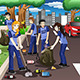 Kids Volunteering by Cleaning up the Road - GraphicRiver Item for Sale