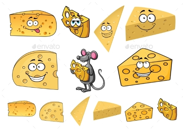 GraphicRiver Wedges of Cartoon Cheese with a Mouse 11361252