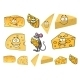 Wedges of Cartoon Cheese with a Mouse - GraphicRiver Item for Sale