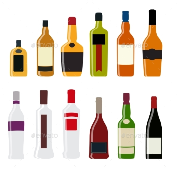GraphicRiver Illustration of Alcohol Bottle Silhouettes 11361266