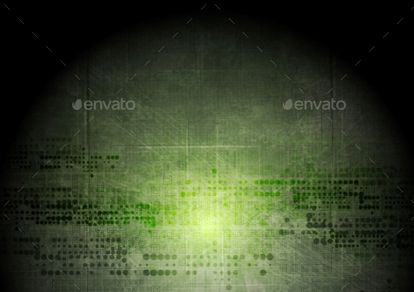 GraphicRiver Dark Green Grunge Tech Background 11361387