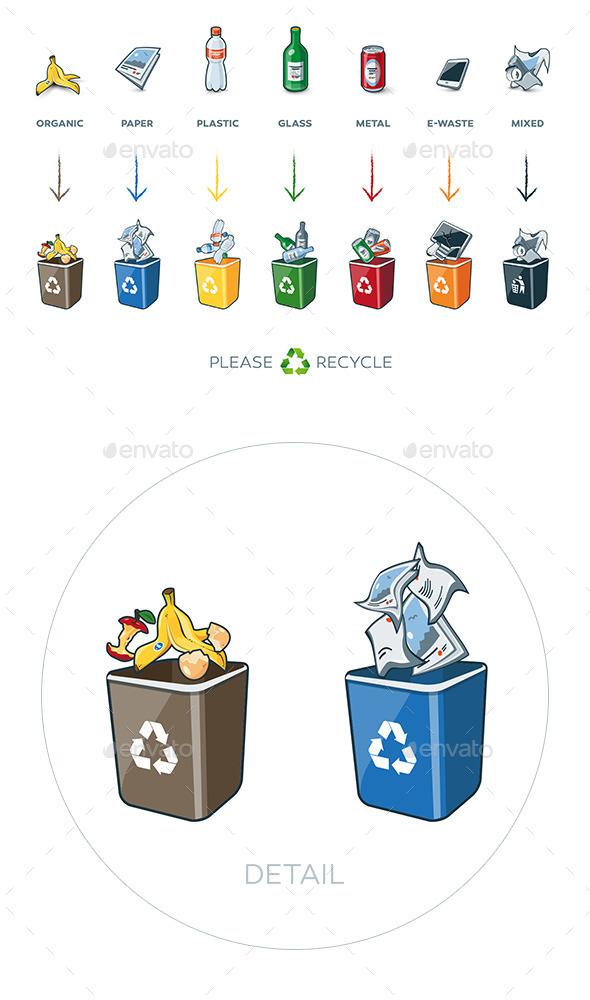 GraphicRiver 7 Segregation Recycling Bins with Trash 11349930