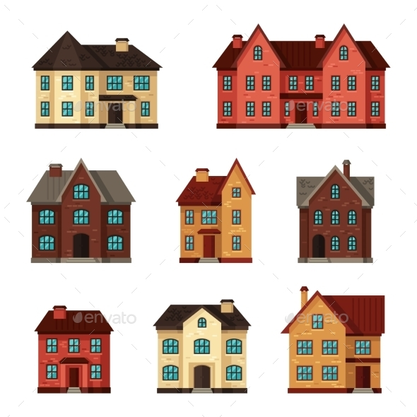 GraphicRiver Town Icon Set of Cottages and Houses 11362556