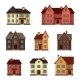 Town Icon Set of Cottages and Houses - GraphicRiver Item for Sale