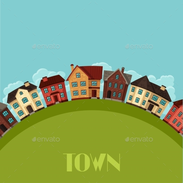 GraphicRiver Town Background Design with Cottages and Houses 11362566