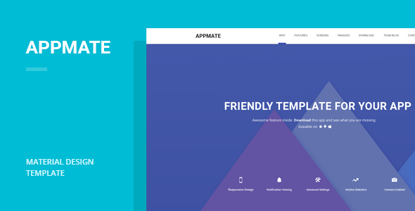 Image of Appmate - Material Design App Landing Template