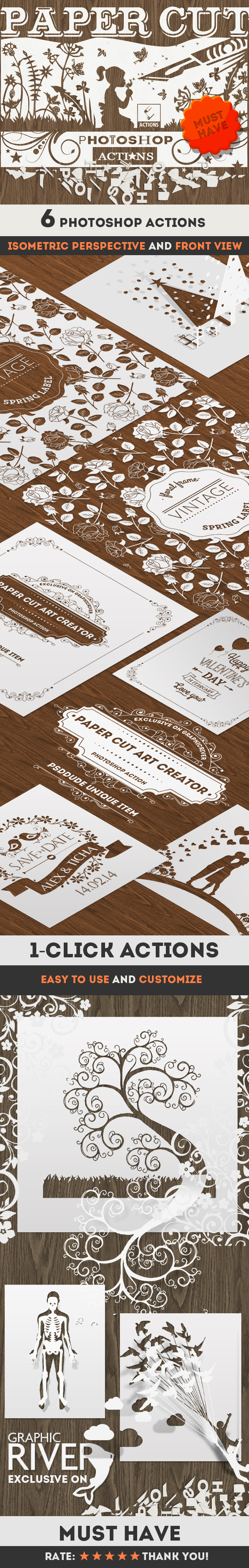 GraphicRiver Paper Cut Art Photoshop Actions 11362784