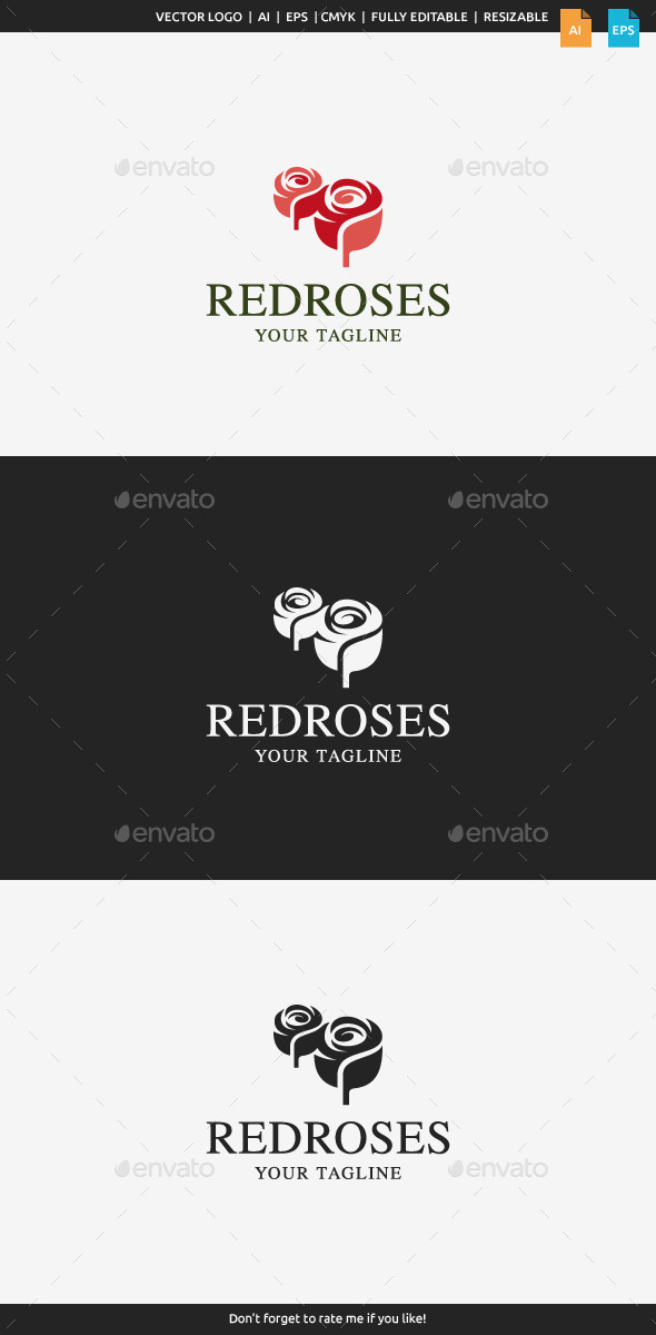 GraphicRiver Red Roses Logo 11362785