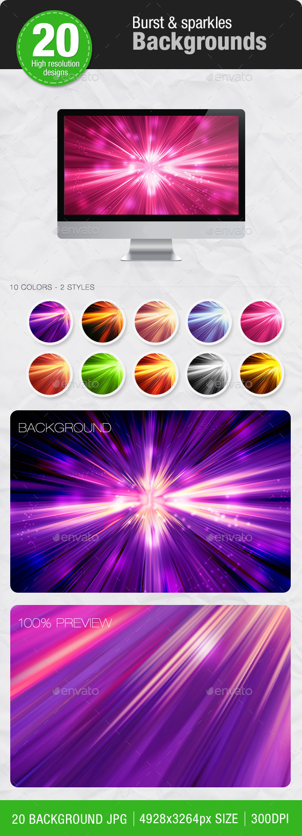 GraphicRiver 20 Burst & Sparkles Backgrounds 11363024