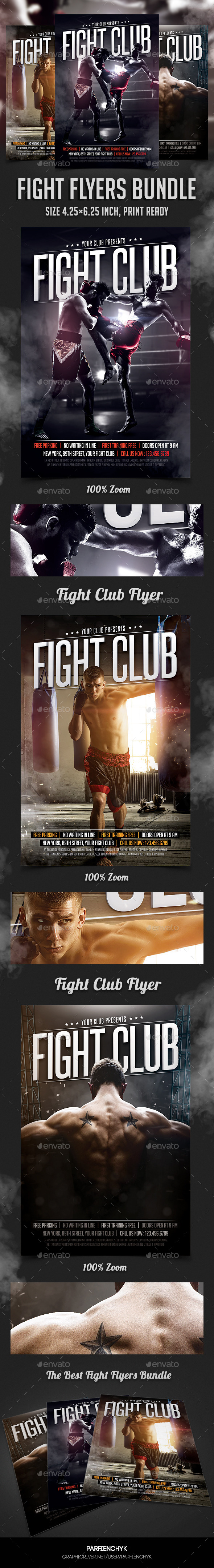 GraphicRiver Fight Club Flyers Bundle 11363288
