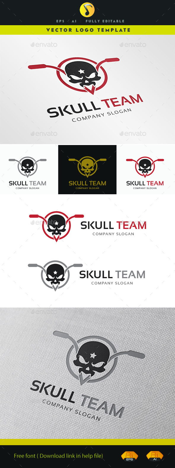 GraphicRiver Skull Team Logo 11363395