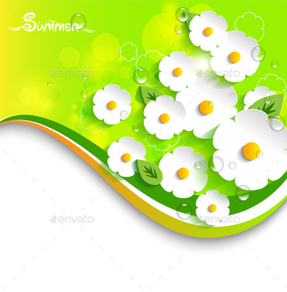 GraphicRiver Floral Summer Background 11363481