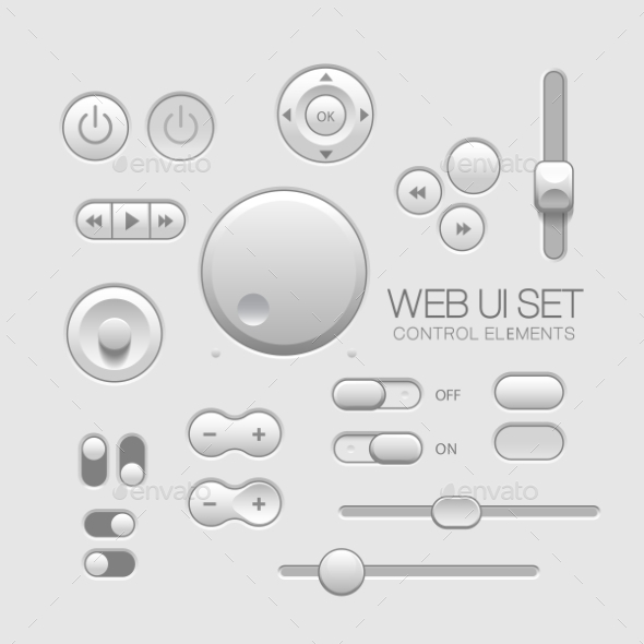 GraphicRiver Light Web UI Elements Design Gray 11363876
