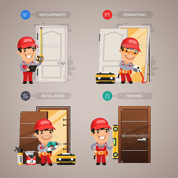 GraphicRiver Door Installation Step By Step With Handyman 11351029