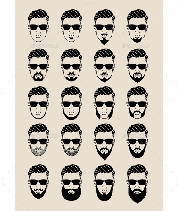GraphicRiver Hipster Faces with Beard 11365346
