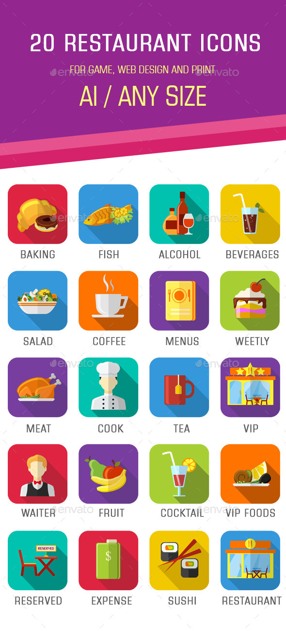 GraphicRiver 20 Flat Restaurant Icons 11365415