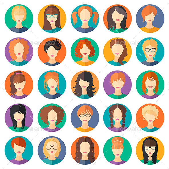 GraphicRiver Set of Girls in Modern Flat Design 11365436