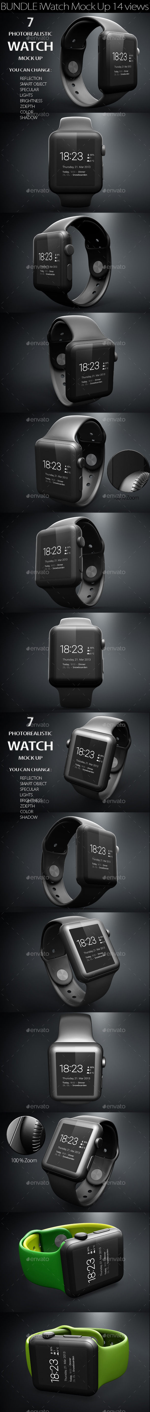 GraphicRiver Bundle iWatch Mock Up 11365488