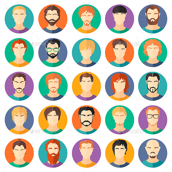 GraphicRiver Set of Guys in Modern Flat Design 11365499