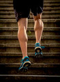 runner sport man with strong legs jogging and running in urban staircase steps training hard - PhotoDune Item for Sale