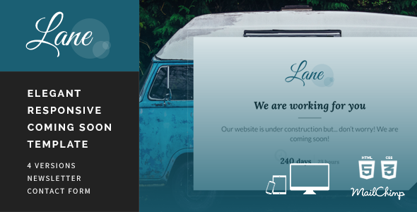 ThemeForest Lane Responsive Coming Soon Template 11366570
