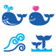 Whale, Sea or Ocean Waves Blue Icons Set - GraphicRiver Item for Sale