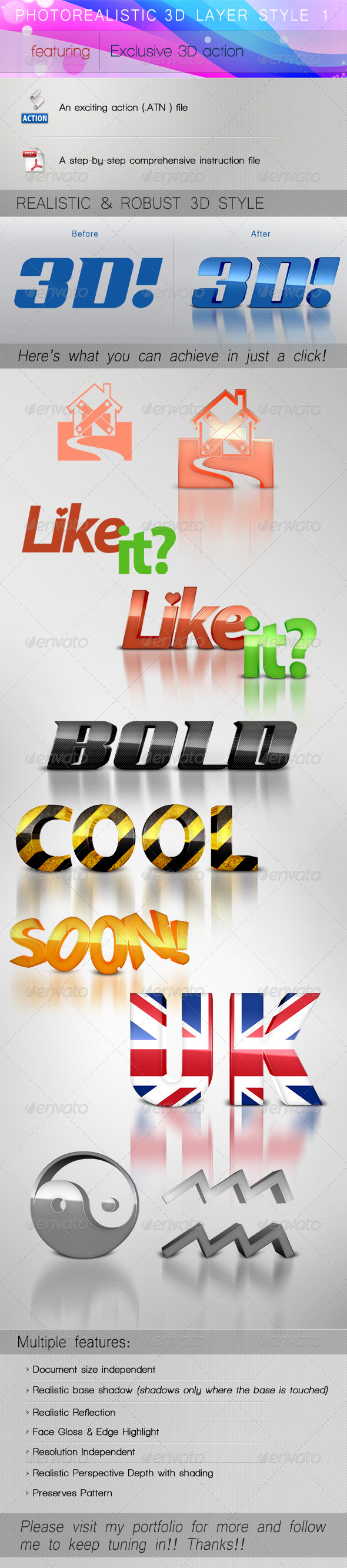 GraphicRiver PHOTOREALISTIC 3D LAYER STYLE 1 140303