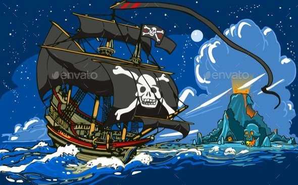 GraphicRiver Pirate Ship Sailing to the Skull Island 11369158