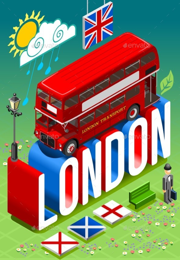 GraphicRiver London Double Decker Postcard 11369188