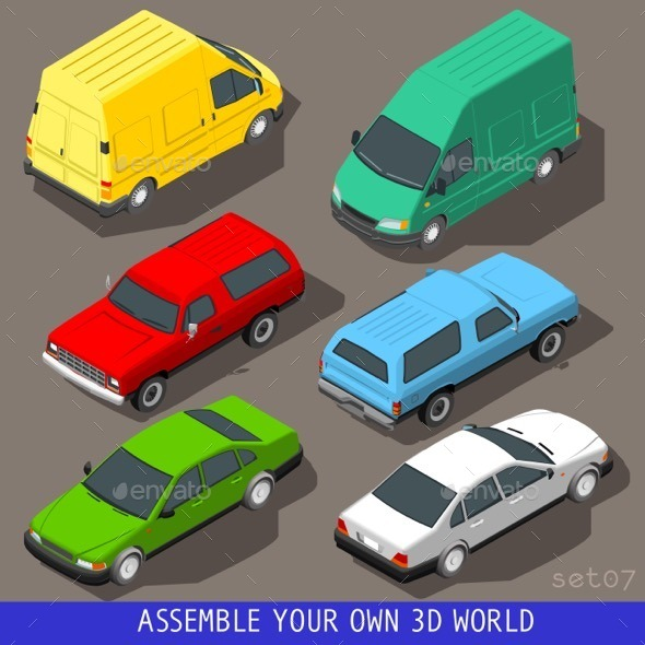 GraphicRiver Isometric Flat 3D Vehicle Set 11369255