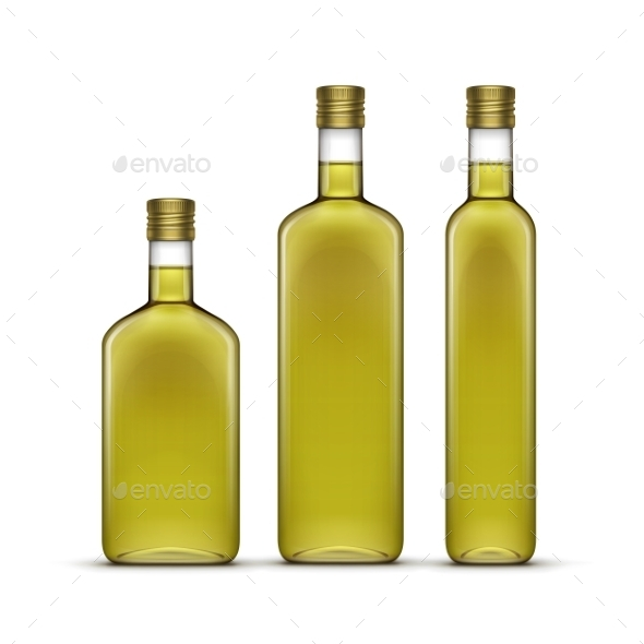 GraphicRiver Vector Set Of Olive Or Sunflower Oil Glass Bottles 11369496