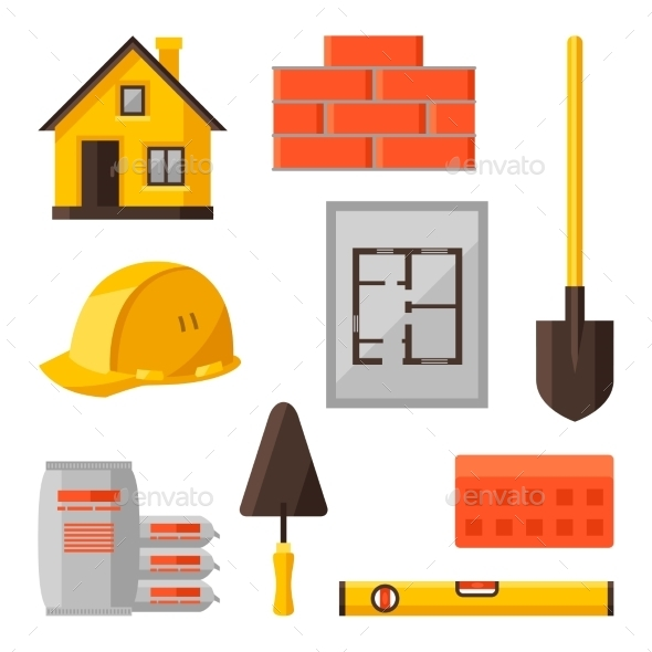 GraphicRiver Industrial Icon Set Of Housing Construction 11369568