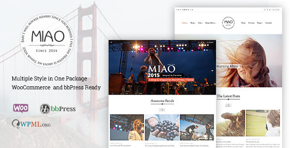 ThemeForest Miao Fashion Blog & Magazine WordPress Theme 11170534
