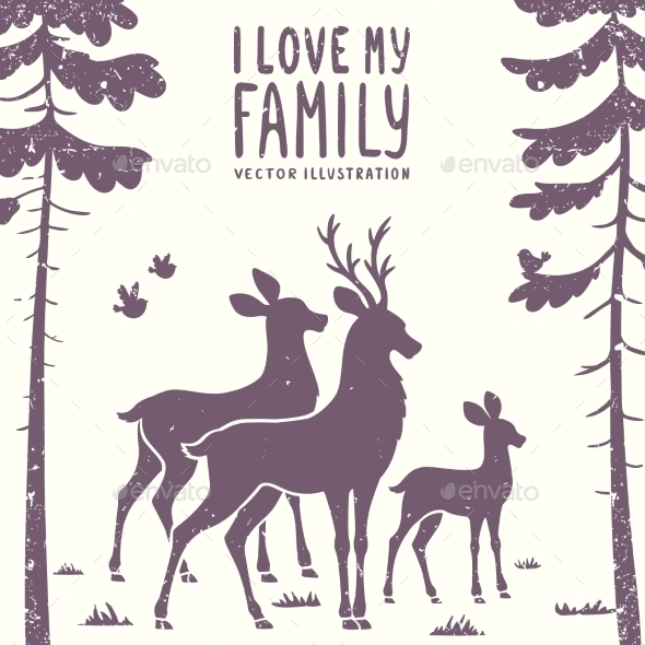 GraphicRiver Deer Family 11369866