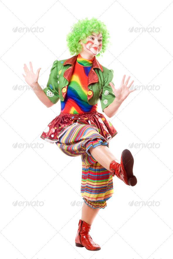 Cheerful posing female clown - Stock Photo - Images