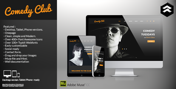 ThemeForest Comedy Club Entertainment Club Muse Template 11369897
