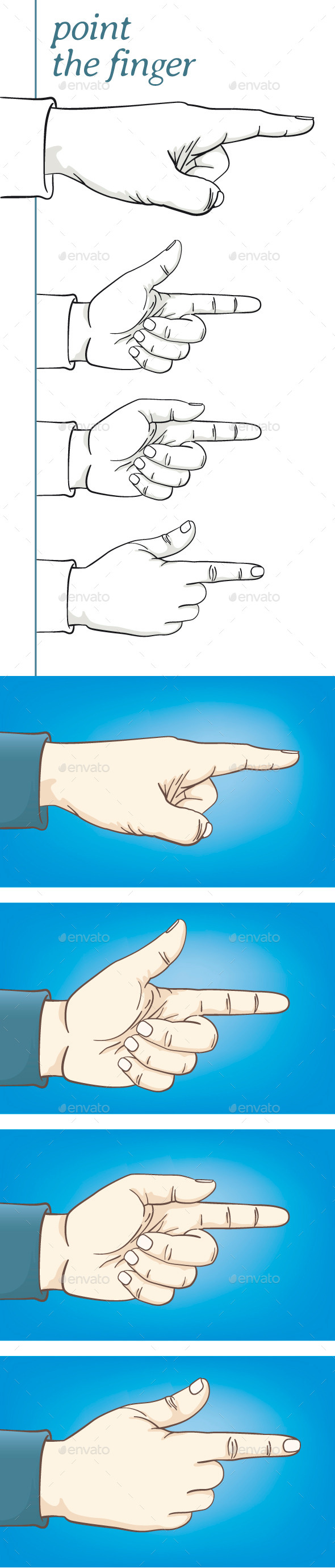 GraphicRiver Four Hands Pointing 11370058