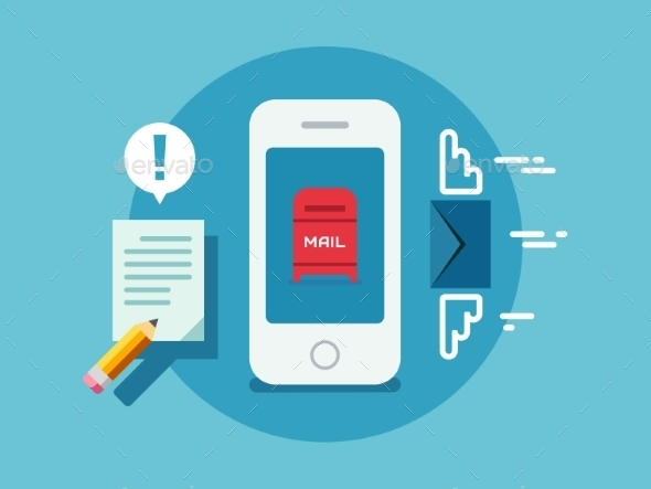 GraphicRiver Newsletter Notification On Smart Phone Screen Flat 11370224