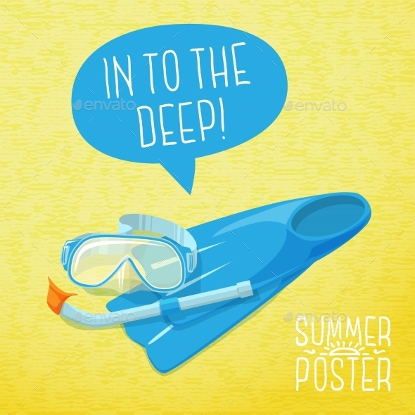 GraphicRiver Cute Summer Poster Diving Mask Flippers 11371010