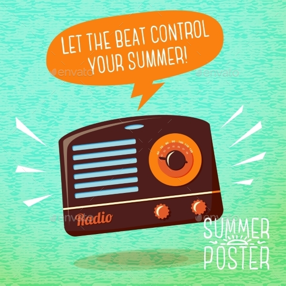 GraphicRiver Cute Summer Poster Radio Playing Cool Music 11371094